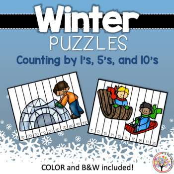 Winter Puzzles:  Counting by 1's, 5's, 10's