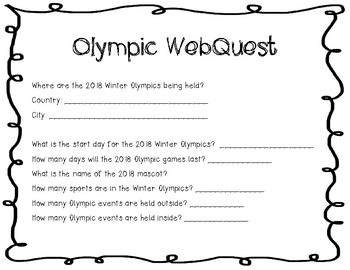 Winter PyeongChang Olympic WebQuest Upper Elementary