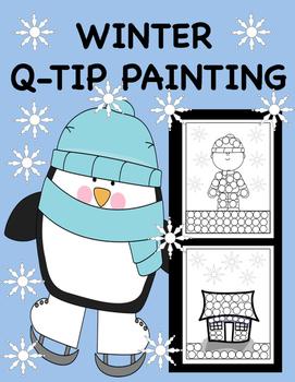 Winter Q-Tip Painting