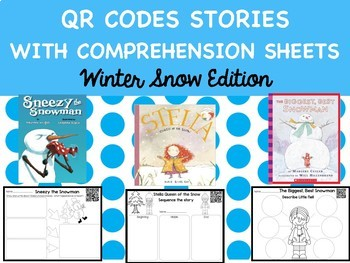 Winter QR Codes with Comprehension Sheets Snow Edition