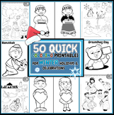 Winter Quick Coloring Pages- Winter, Christmas, Hanukkah,