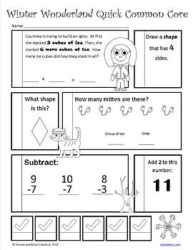 Winter No Prep Common Core Math (1st grade)