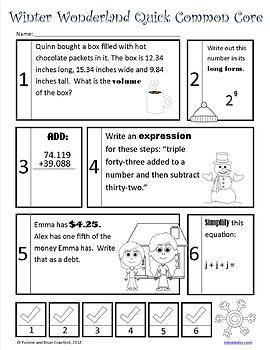 Winter No Prep Common Core Math (6th grade)