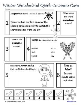 Winter No Prep Common Core Literacy (2nd grade)