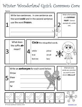 Winter No Prep Common Core Literacy (4th grade)