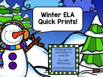 Winter Quick Prints! {ELA for K}