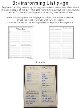 Winter Quick Writes ~ Interactive Writing Prompts