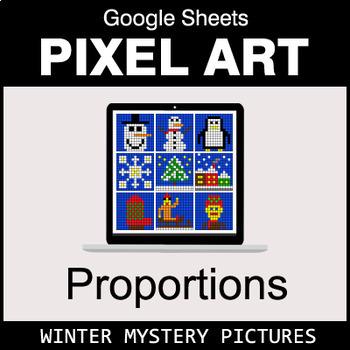 Winter - Ratios & Proportions - Google Sheets Pixel Art