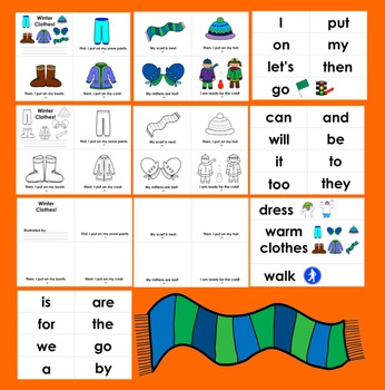 Winter Activities: Winter Clothes Readers - 3 Levels + Illustrated Word Wall