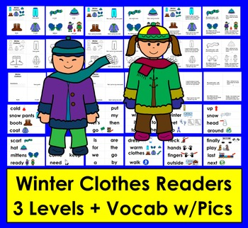 Winter Clothes Readers - 3 Reading Levels + Vocabulary Cards