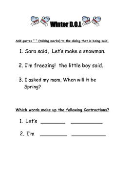 Winter Reading Activities