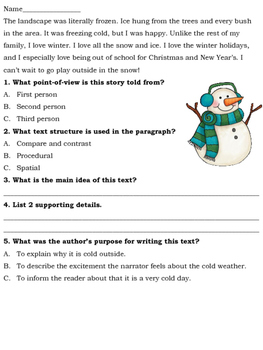 Winter Reading Based Bellringers for Middle School & High School Students