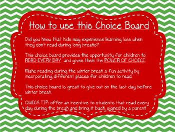 Winter Reading Choice Board