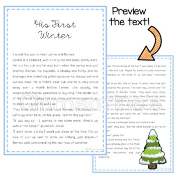 Winter Reading Comprehension { No prep } - A Bear's first Winter