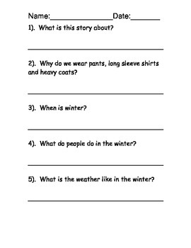 Winter Reading Comprehension Packet