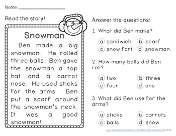 Winter Reading Comprehension Passages First Grade by Sarah Eisenhuth