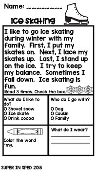 Winter Reading Comprehension Passages Sample