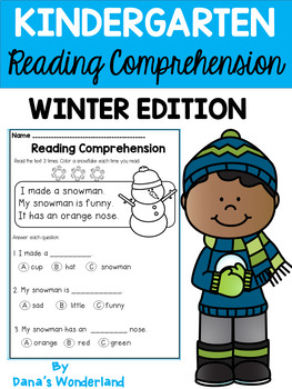 Winter Kindergarten Reading Comprehension Passages and Questions