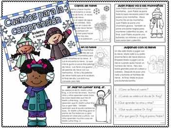 Winter Reading Comprehension Passages in Spanish comprensión
