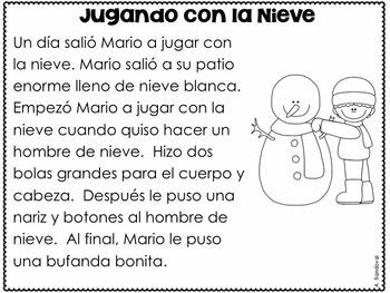 winter reading comprehension passages in spanish comprensi n tpt. Black Bedroom Furniture Sets. Home Design Ideas