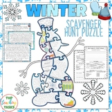 Winter Reading Comprehension Scavenger Hunt Puzzle and Res