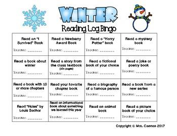 Winter Reading Log Bingo