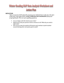 Winter Reading MAP Analysis Worksheet for Teachers (Primary)