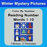 Winter: Reading Number Words 1-10 - Color By Number - Wint