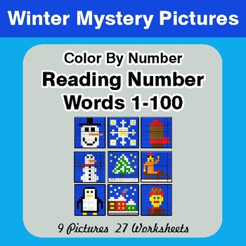 Winter: Reading Number Words 1-100 - Color By Number - Winter Mystery Pictures
