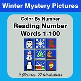 Winter: Reading Number Words 1-100 - Color By Number - Win