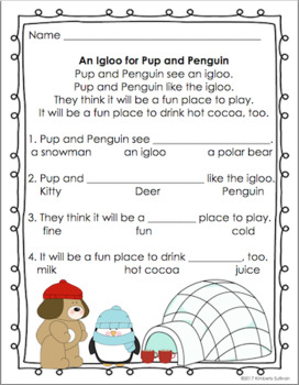 Winter Reading Comprehension passages and Questions PRE-K ...