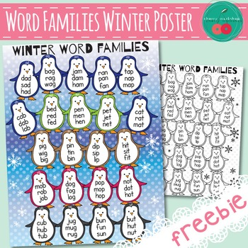 Winter Reading Poster - CVC Word Families - FREEBIE