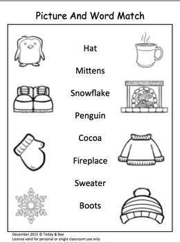 Winter Reading, Writing and Math Activity Kit