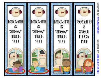 Winter (Reading is SNOW much fun) Bookmarks - 4 Designs