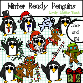 Winter Ready Penguins (Clip Art)