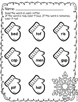 Winter Real and Nonsense Words Worksheet