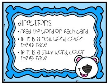 Winter Real vs. Silly Words Task Cards