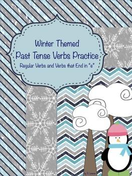 "Winter Past Tense Verbs Pack (Regular Verbs/Verbs that End in ""e"")"