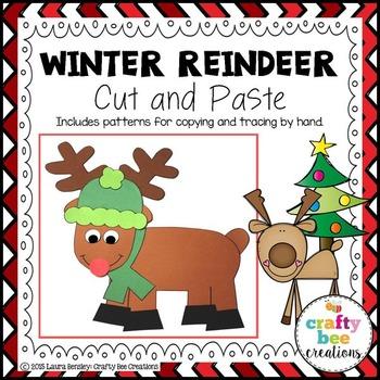 Winter Reindeer Cut and Paste
