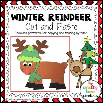 Winter Reindeer Cut and Paste
