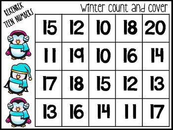 Winter Rekenrek Count and Cover Numbers 10-20
