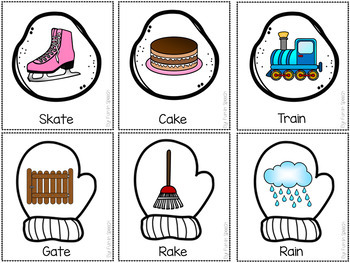 Winter Rhyming Activities-Full Color & Black/White Cards + Printable Worksheets