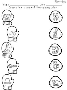 picture about Printable Rhyming Cards known as Winter season Rhyming Routines and Worksheets
