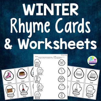 Winter Rhyming Activities-Full Color & Black/White Cards +