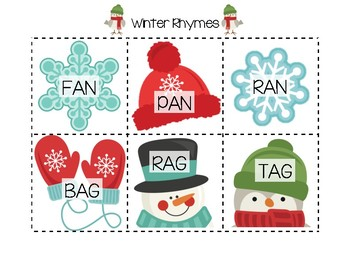 Winter Rhyming Cards (CVC-Short Vowel)