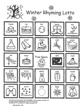 Winter Rhyming Lotto Game