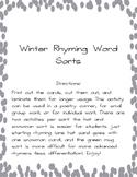 Winter Rhyming Word Sort