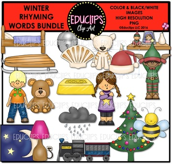 Winter Rhyming Words Clip Art Bundle {Educlips Clipart}