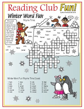 winter rhyming words crossword puzzle by reading club fun tpt. Black Bedroom Furniture Sets. Home Design Ideas