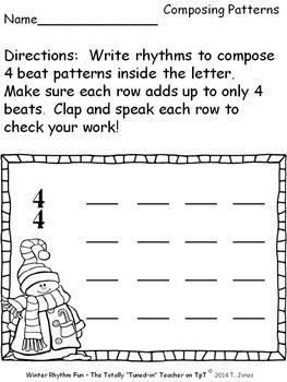 Music Worksheets: Music Math {Winter Rhythm Fun}